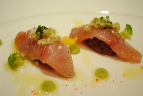 duo of hamachi and tuna 500x335 Melisse   4/22/10