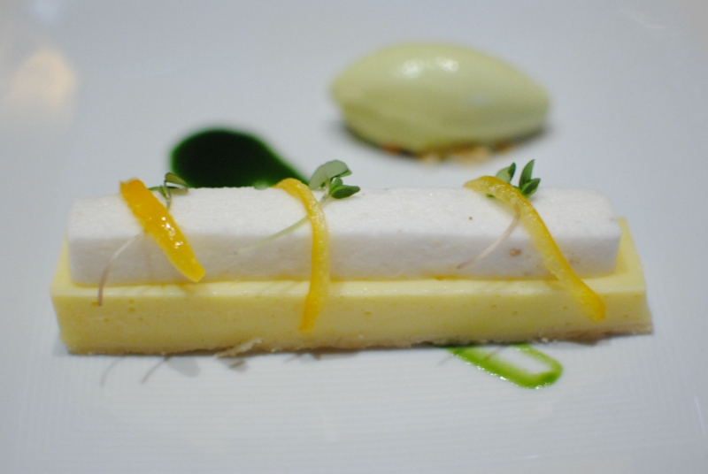 Meyer Lemon Tart – candied lemon rind, thai basil ice cream