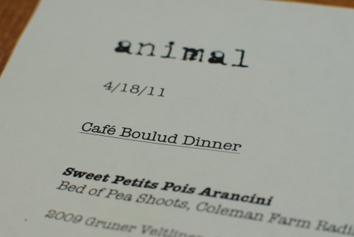 menu head 500x335 Cafe Boulud @ Animal (Los Angeles, CA)
