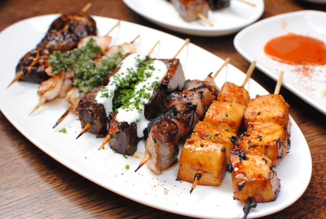 Yakitori – Shiitaki Mushroom, Chicken Breast, Beef Tongue, Beef ...